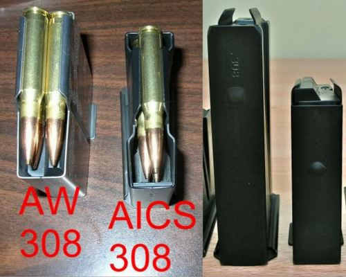 AICS 10-rounders in the middle, AW 10-rounders on the sides. Note the double feed and compact size of the AW magazines.
