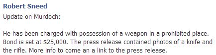Sneed posted this update on Open Carry Texas's facebook page this afternoon.